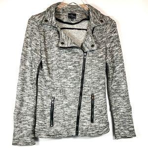 Market and Spruce Grey Terry Moto Jacket